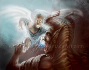 Angel Knocks Out Demon !